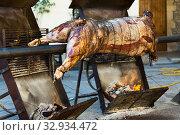 Сarcass of whole bull roasting on spit. Стоковое фото, фотограф Яков Филимонов / Фотобанк Лори