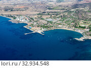 Купить «Aerial view at coastline from the Cessac Beach in Dhekelia Bay to the Larnaca direction. The Mediterranean sea, Cyprus island», фото № 32934548, снято 18 сентября 2013 г. (c) Кекяляйнен Андрей / Фотобанк Лори