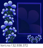 Floral square card with empty frame for congratulations text with dark blue trend background with volumetric white violet flowers, cover design poster with notepad scrapbook postcard. Стоковая иллюстрация, иллюстратор Светлана Евграфова / Фотобанк Лори