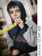 Купить «Child plays trumpet colored.», фото № 32941420, снято 5 апреля 2020 г. (c) easy Fotostock / Фотобанк Лори