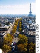 Купить «Aerial view of european city Paris with Eiffel Tower and apartment view from drones», фото № 32942080, снято 10 октября 2018 г. (c) Яков Филимонов / Фотобанк Лори