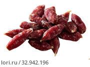 Popular spanish small snack sausages secallones. Стоковое фото, фотограф Яков Филимонов / Фотобанк Лори