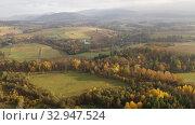 Купить «Picturesque autumn view with church on a hill. Czech Republic», видеоролик № 32947524, снято 18 октября 2019 г. (c) Яков Филимонов / Фотобанк Лори