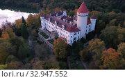 Купить «Top view of medieval castle Konopiste Castle. Czech Republic», видеоролик № 32947552, снято 12 октября 2019 г. (c) Яков Филимонов / Фотобанк Лори