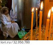 Купить «Свечи церковные Церковь Чан со святой водой», фото № 32950780, снято 18 января 2020 г. (c) Кузнецов Максим / Фотобанк Лори