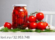 Купить «Pickled tomatoes in glass jar», фото № 32953748, снято 29 мая 2020 г. (c) Яков Филимонов / Фотобанк Лори