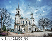 Церковь в Быкове. The Vladimir Church in the village of Bykovo. Стоковое фото, фотограф Baturina Yuliya / Фотобанк Лори