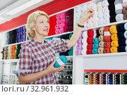 Купить «Woman choosing wool balls», фото № 32961932, снято 20 февраля 2020 г. (c) Яков Филимонов / Фотобанк Лори