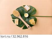Купить «natural soap, brush, sponge and body butter», фото № 32962816, снято 8 ноября 2018 г. (c) Syda Productions / Фотобанк Лори