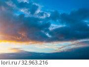 Купить «Небесный закатный пейзаж. Синее небо/ Dramatic blue sky background. Picturesque colorful clouds lit by sunlight. Vast sky landscape panoramic scene», фото № 32963216, снято 21 ноября 2018 г. (c) Зезелина Марина / Фотобанк Лори