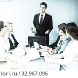 Купить «building chief speech at meeting in office», фото № 32967096, снято 31 марта 2020 г. (c) Татьяна Яцевич / Фотобанк Лори
