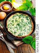 Купить «Omelet with nettles», фото № 32967224, снято 17 мая 2019 г. (c) Надежда Мишкова / Фотобанк Лори