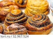 Купить «Bakery products. Glazed buns - curls with poppy seeds and sugar. Close-up.», фото № 32967524, снято 6 декабря 2019 г. (c) Акиньшин Владимир / Фотобанк Лори