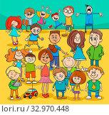 Cartoon Illustration of Preschool or Elementary Age or Children or Teenagers People Characters Group. Стоковое фото, фотограф Zoonar.com/Igor Zakowski / easy Fotostock / Фотобанк Лори