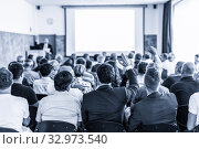 Купить «I have a question. Group of business people sitting in conference hall. Businessman raising his arm. Conference and Presentation. Business and Entrepreneurship», фото № 32973540, снято 30 сентября 2019 г. (c) Matej Kastelic / Фотобанк Лори