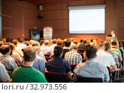 Купить «Speaker giving presentation on scientific business conference.», фото № 32973556, снято 3 июля 2014 г. (c) Matej Kastelic / Фотобанк Лори