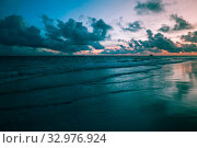 Купить «Tropical sunrise over Atlantic Ocean, Bavaro beach, Punta, Dominican Republic», фото № 32976924, снято 4 января 2017 г. (c) EugeneSergeev / Фотобанк Лори