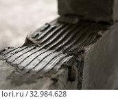 Wall of aerated concrete blocks close up shot. Стоковое фото, фотограф Гурьянов Андрей / Фотобанк Лори
