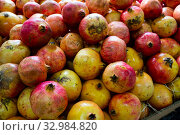 Купить «Fresh pomegranates in cardboard boxes», фото № 32984820, снято 29 марта 2020 г. (c) Яков Филимонов / Фотобанк Лори