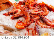 Купить «Market showcase with raw prawns», фото № 32984904, снято 23 февраля 2020 г. (c) Яков Филимонов / Фотобанк Лори