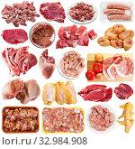 Купить «Collection of raw meat, poultry and sausages isolated», фото № 32984908, снято 1 апреля 2020 г. (c) Яков Филимонов / Фотобанк Лори