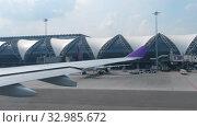 Купить «Departure from Suvarnabhumi airport, Bangkok», видеоролик № 32985672, снято 30 ноября 2017 г. (c) Игорь Жоров / Фотобанк Лори