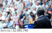 Купить «Public speaker giving talk at Business Event.», фото № 32985740, снято 8 сентября 2016 г. (c) Matej Kastelic / Фотобанк Лори