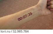 Futuristic stopwatch like a tattoo on the hand. Стоковое видео, видеограф Dzmitry Astapkovich / Фотобанк Лори