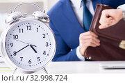 Купить «Businessman in rush trying to meet deadline», фото № 32998724, снято 2 декабря 2017 г. (c) Elnur / Фотобанк Лори