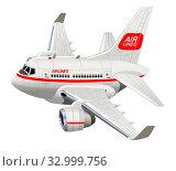 Купить «Cartoon Civilian Airplane», иллюстрация № 32999756 (c) Александр Володин / Фотобанк Лори