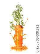 Carrot juice splash with root in the glass. Стоковое фото, фотограф Ярослав Данильченко / Фотобанк Лори