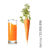 Juice glass with fresh organic carrot vegetable. Стоковое фото, фотограф Ярослав Данильченко / Фотобанк Лори