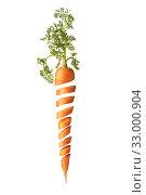 Купить «Cut fresh juice natural carrot root with green leaf.», фото № 33000904, снято 21 января 2010 г. (c) Ярослав Данильченко / Фотобанк Лори