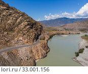 Купить «Road in Altai mountains.», фото № 33001156, снято 19 августа 2019 г. (c) Jan Jack Russo Media / Фотобанк Лори