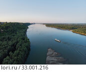 Купить «Aerial view of big siberian Ob river», фото № 33001216, снято 28 июля 2019 г. (c) Jan Jack Russo Media / Фотобанк Лори