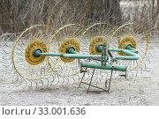Unit for harvesting hay in village. Стоковое фото, фотограф Александр Птах / Фотобанк Лори
