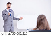 Купить «The business presentation in the office with man and woman», фото № 33002220, снято 7 августа 2017 г. (c) Elnur / Фотобанк Лори