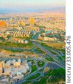 Купить «Aerial view of Tehran from Milad Tower. Iran», фото № 33005476, снято 7 июня 2020 г. (c) easy Fotostock / Фотобанк Лори