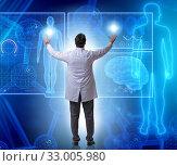 Telemedicine concept with doctor pressing virtual buttons. Стоковое фото, фотограф Elnur / Фотобанк Лори
