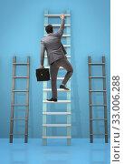 Купить «The career progression concept with various ladders», фото № 33006288, снято 5 июля 2020 г. (c) Elnur / Фотобанк Лори