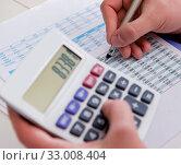 Купить «Finance analyst looking and financial reports», фото № 33008404, снято 2 марта 2017 г. (c) Elnur / Фотобанк Лори