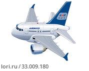 Купить «Cartoon Commercial Airplane», иллюстрация № 33009180 (c) Александр Володин / Фотобанк Лори