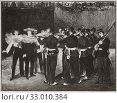 The Execution of Emperor Maximilian. Lithograph by French artist Edouard Manet. Apart from this lithograph, Manet produced three oil paintings and a smaller oil sketch of the subject. (2019 год). Редакционное фото, фотограф Classic Vision / age Fotostock / Фотобанк Лори