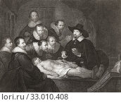 Купить «The Anatomy Lesson of Dr. Nicolaes Tulp. An engraving by Johannes Pieter de Frey, after the painting by Rembrandt.», фото № 33010408, снято 7 июля 2019 г. (c) age Fotostock / Фотобанк Лори