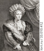 Isabella d'Este, 1474-1539, Marchioness of Mantua. Engraving by Lucas Vorsterman I after the painting by Titian.. (2019 год). Редакционное фото, фотограф Classic Vision / age Fotostock / Фотобанк Лори