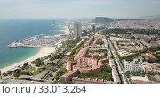 Купить «Image of seaside of Barcelona outdoors.», видеоролик № 33013264, снято 24 июля 2018 г. (c) Яков Филимонов / Фотобанк Лори