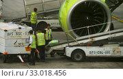 Купить «Uploading luggage onboard the aircraft», видеоролик № 33018456, снято 30 ноября 2017 г. (c) Игорь Жоров / Фотобанк Лори