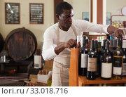 Купить «Winemaker arranging bottles in wine shop», фото № 33018716, снято 1 августа 2019 г. (c) Яков Филимонов / Фотобанк Лори