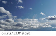 Купить «Only sky. Beautiful panorama of blue sky with white clouds. Relaxing view of moving transforming clouds. Full HD Time Lapse», видеоролик № 33019620, снято 16 февраля 2020 г. (c) Dmitry Domashenko / Фотобанк Лори