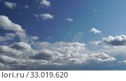 Купить «Only sky. Beautiful panorama of blue sky with white clouds. Relaxing view of moving transforming clouds. Full HD Time Lapse», видеоролик № 33019620, снято 3 апреля 2020 г. (c) Dmitry Domashenko / Фотобанк Лори